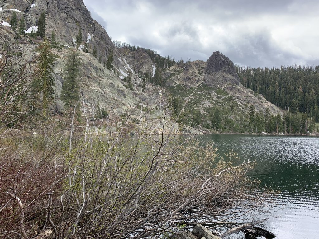 View of the lake where Jimmy was riding the day he hit the bear