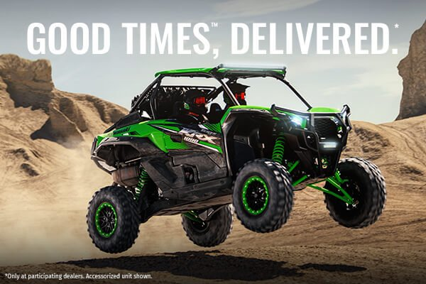 """The promotional banner for Kawasaki's """"We'll Deliver the Good Times"""" program"""