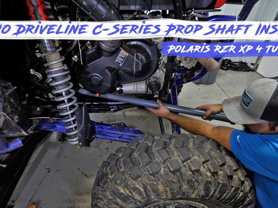 Braden installing a Rhino Driveline C-series prop shaft on a Polaris RZR XP 4 Turbo