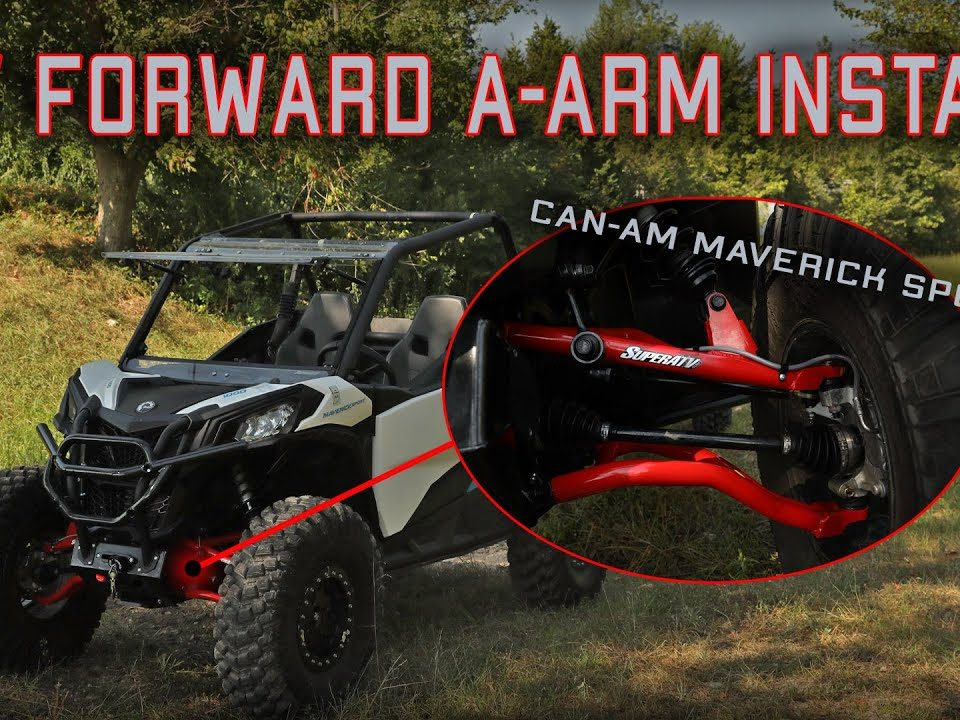 A Can-Am Maverick Sport with SuperATV high-clearance A-arms Installed