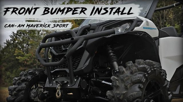 A Can-Am Maverick Sport with a SuperATV front Bumper
