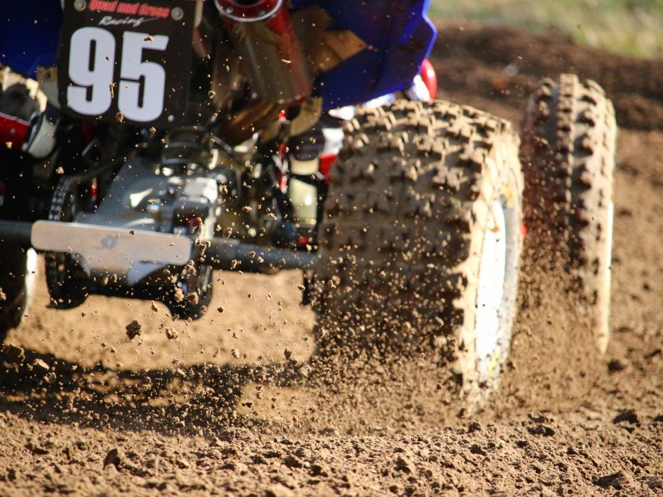 And ATV tire being used on a dirt race track