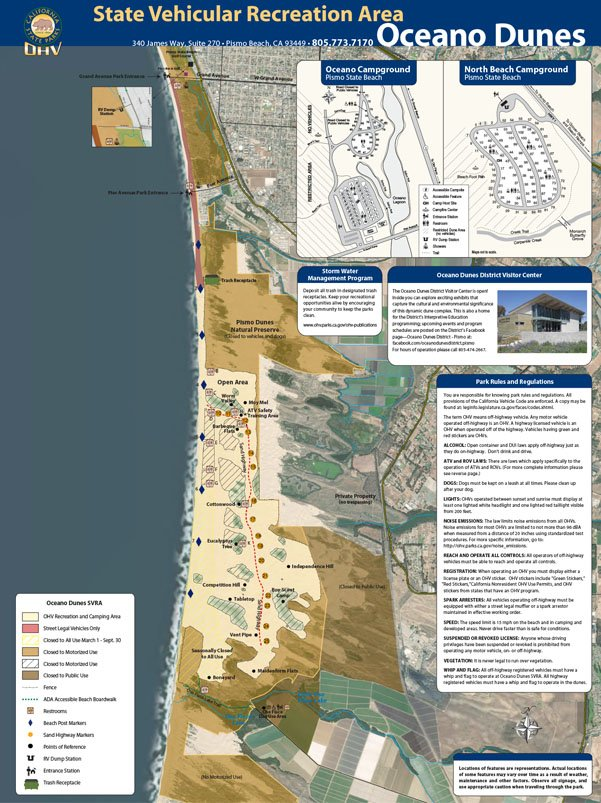 This map shows the different areas of Oceano Dunes SVRA in California