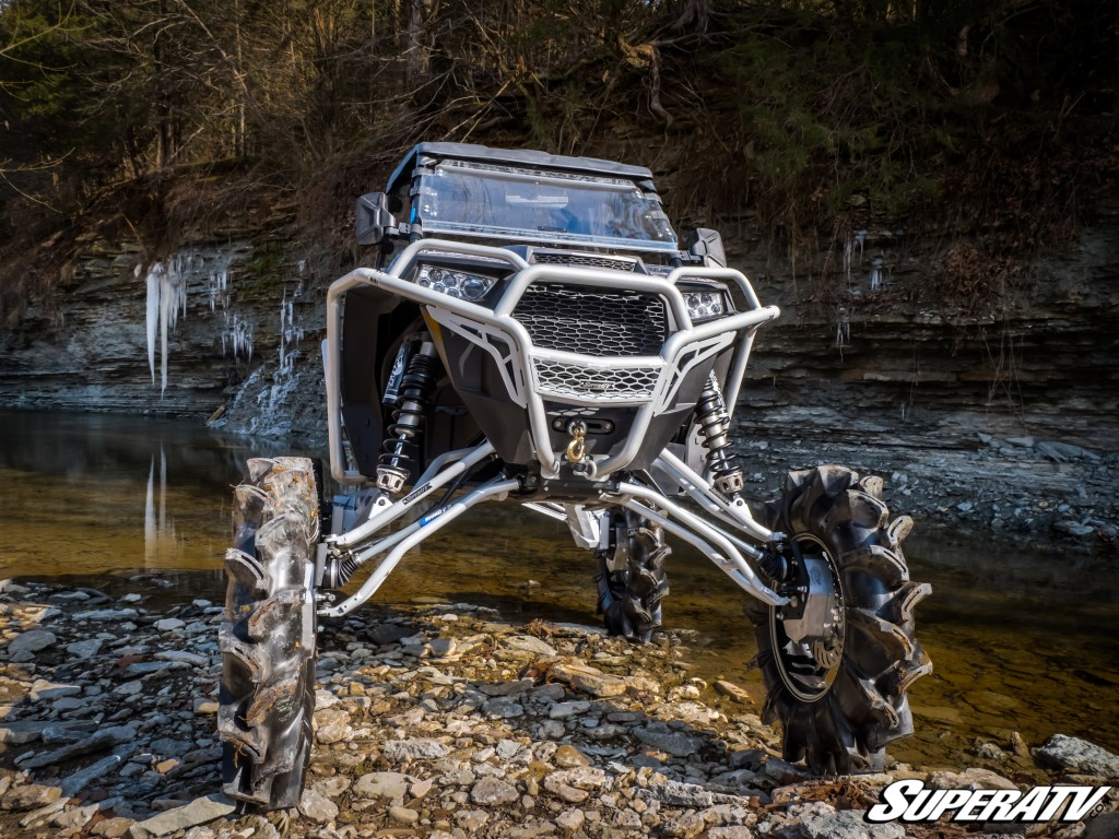 This front view of the 2017 Polaris RZR Turbo mud build shows off the extreme lift that we added.