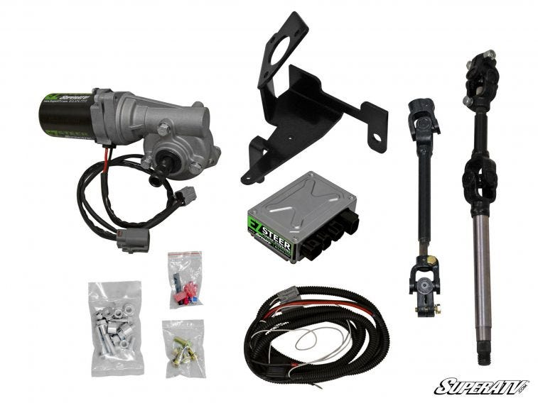 This graphic shows everything you get when you purchase SuperATV's EZ-STEER Power Steering Kit.