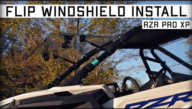 A RZR PRO XP with a SuperATV Flip Windshield. Flip windshield install.