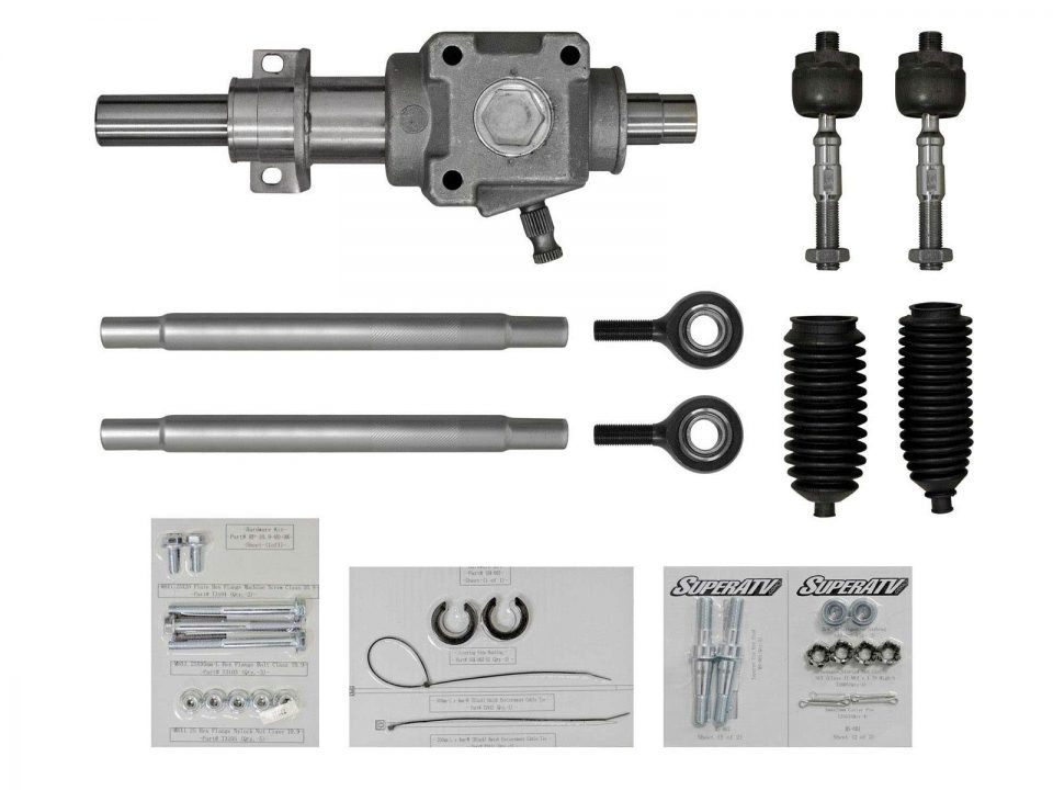Components of a RackBoss Rack and Pinion kit