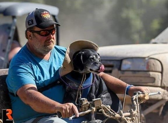 Beagle/Lab/Pit mix Ralph joins his fur-dad Bob on a quad ride.
