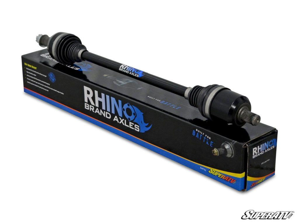 A photo of a Rhino Brand Axle and the box it comes in