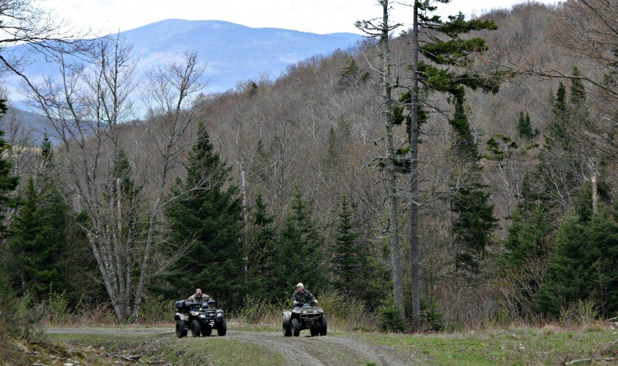 Two ATVs ride through a wooded trail in the Ride the Wilds trail system