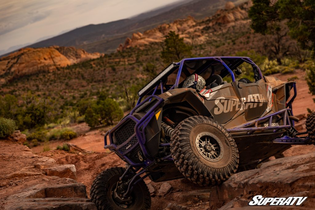 Nerf bars, portal gear lifts, and specialized tires make it easier to navigate rock gardens in a side-by-side