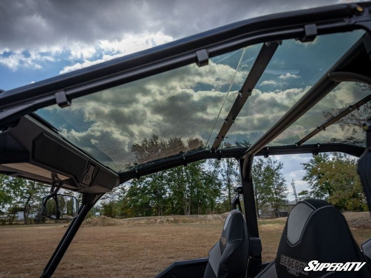 A close-up shot of one of SuperATV's clear polycarbonate UTV roofs.