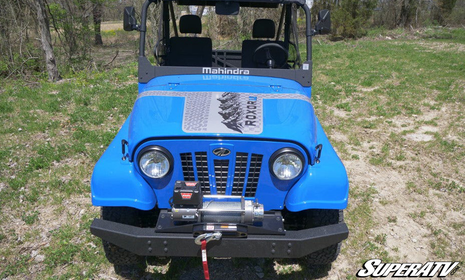 This head-on shot shows the hood and front profile of the Mahindra Roxor
