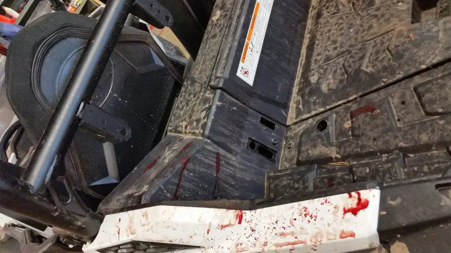 Drops of blood on the RZR's bed.