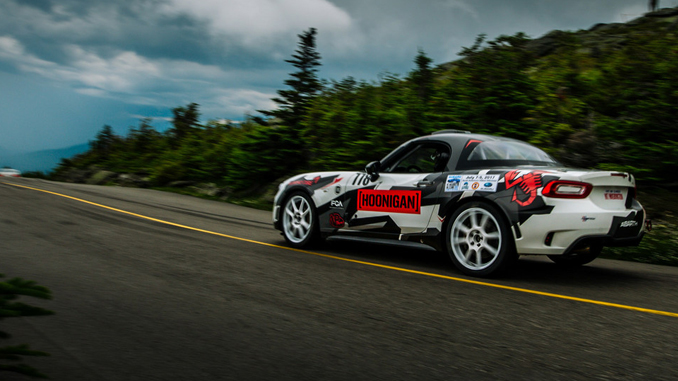 A photo of the Hoonigan Fiat that Sara Price was selected to drive at the 2017 Mt. Washington Auto Road Hillclimb.
