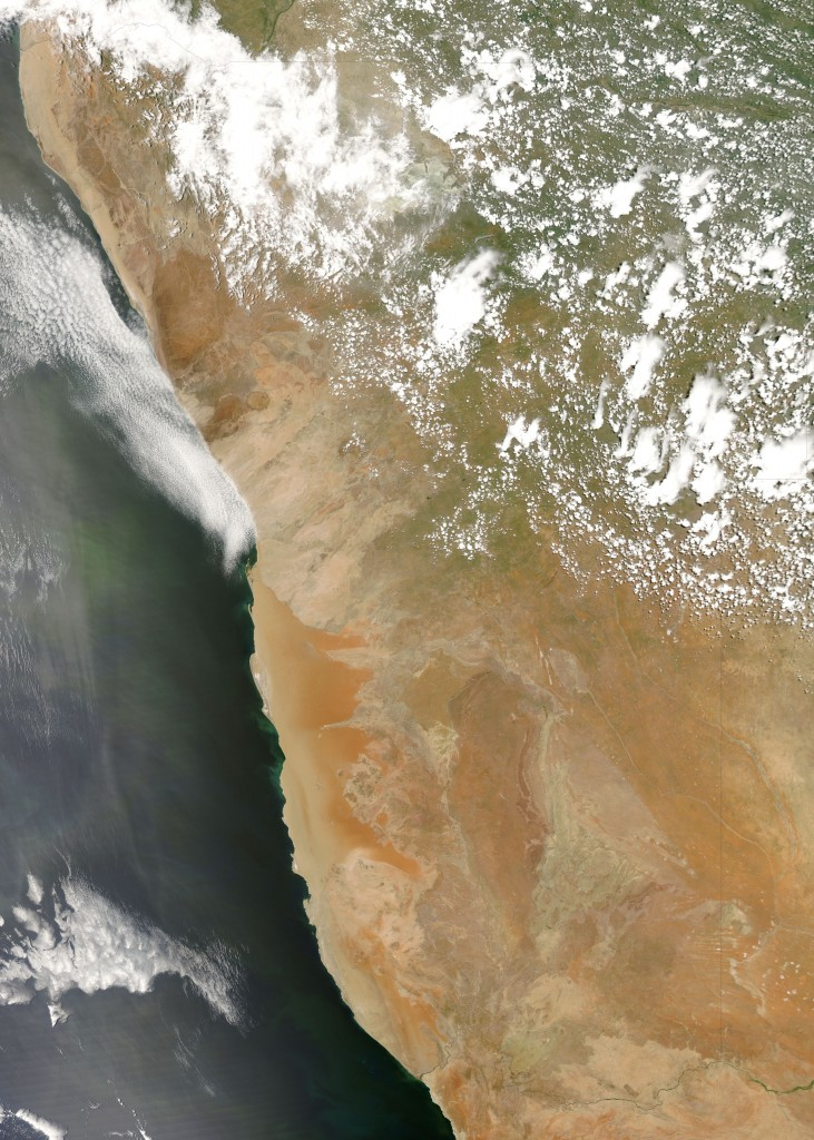 A satellite image showing Namibia and the Namib desert along the coast