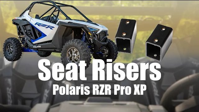 Seat risers being installed on a Polaris RZR PRO XP