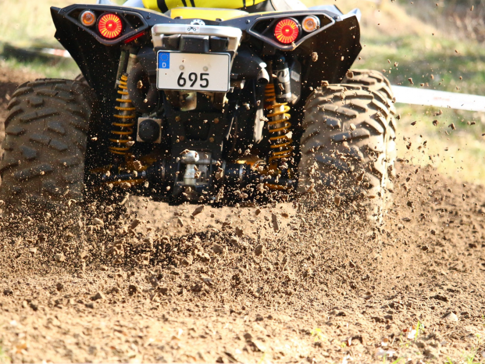 Shocks on the back of an ATV traveling at high speeds