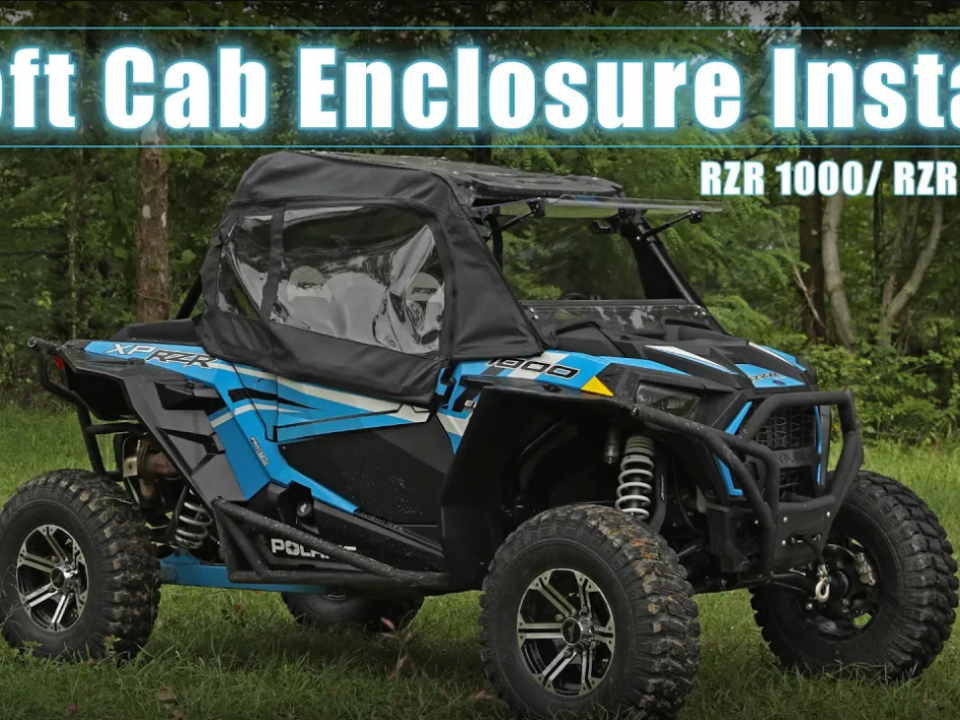 A soft cab enclosure from SuperATV installed on a Polaris RZR 1000