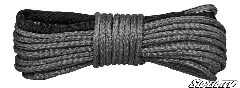 50 feet of synthetic winch rope. It's better than steel cable. The skin on your hands will thank you.