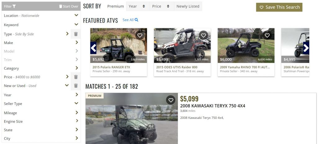 This screenshot shows some of the used UTVs that are available for sale on ATV Trader's website.
