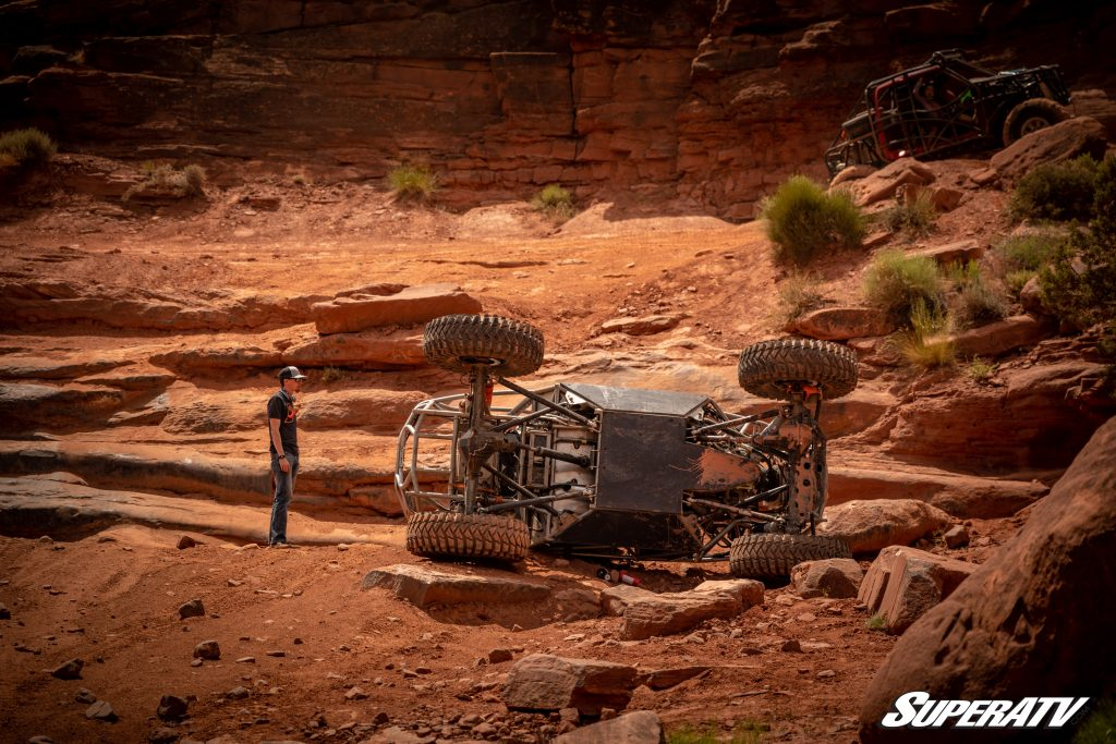 UTV laying on its side in Moab