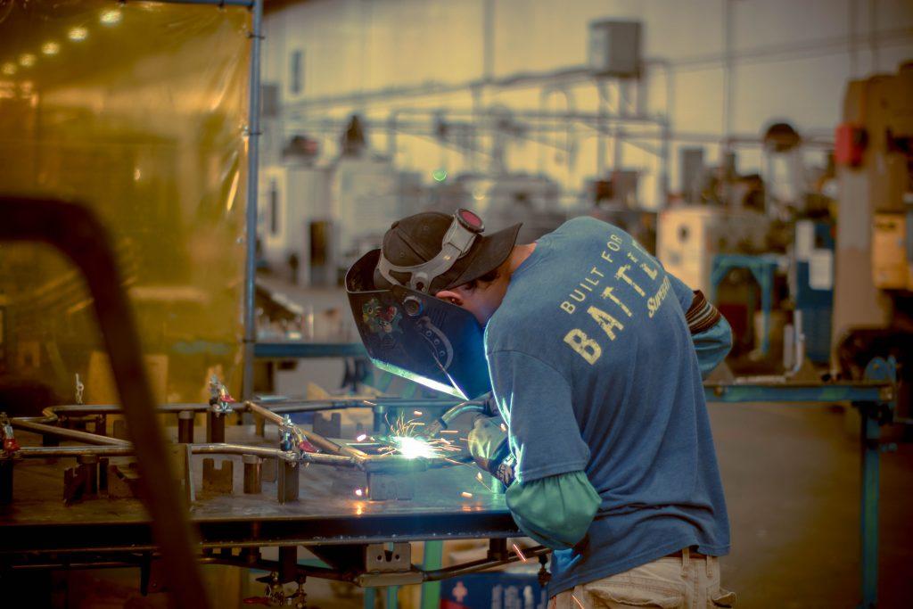 A welder welding a weld.