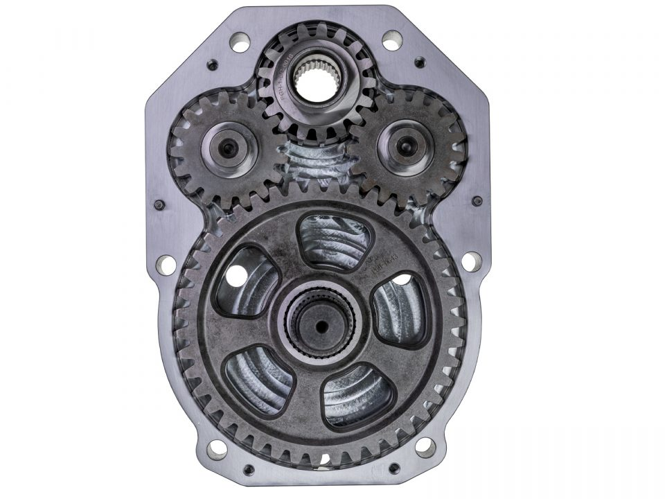 """A 6"""" GDP dual-idler portal opened and showing the idler gears"""