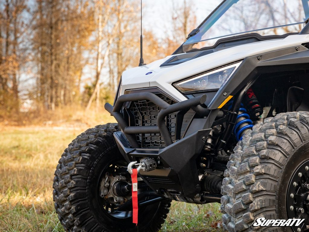 A Polaris RZR PRO XP equipped with a Black Ops Winch.