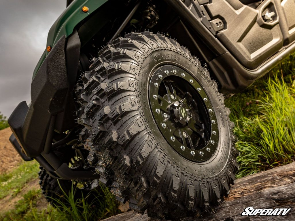 Beadlock wheels with RT warrior tires are an ideal UTV tire and wheel combination for rocks